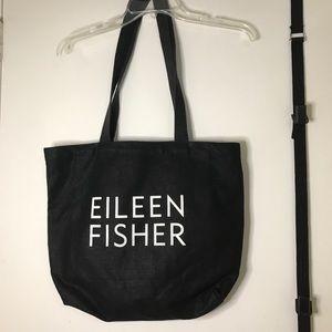 Eileen Fisher Black Logo Tote Denim Canvas Bag